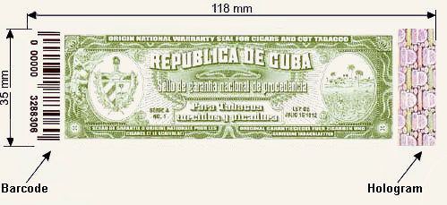 Green Cuban origin and authenticity seal